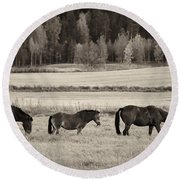 Horses Of The Fall  Bw Round Beach Towel