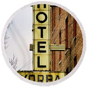 Hotel Yorba Round Beach Towel by Gordon Dean II