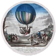 Hydrogen Balloon, 1783 Round Beach Towel