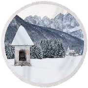 Idyllic Landscapes Immersed In The Snow. The Dream Of The Julian Alps And Valbruna Round Beach Towel