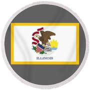 Illinois Flag Round Beach Towel