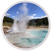 Imperial Geyser, Yellowstone Np Round Beach Towel