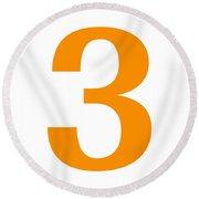 3 In Tangerine Typewriter Style Round Beach Towel