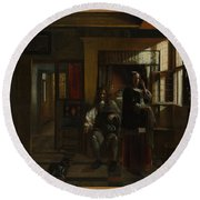 Interior With A Young Couple Round Beach Towel