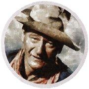 John Wayne Hollywood Actor Round Beach Towel