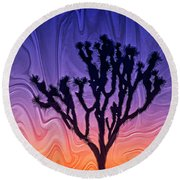 Joshua Tree With Special Effects Round Beach Towel