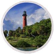 Jupiter Lighthouse Round Beach Towel