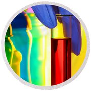 Laboratory Test Tube In Science Research Lab Round Beach Towel