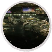 Laguardia Airport Aerial View Round Beach Towel
