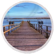 Lake Pier - England Round Beach Towel