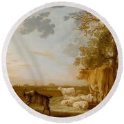 Landscape With Cattle Round Beach Towel