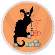 Le Chat Noir - Easter Round Beach Towel