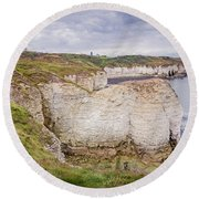 Lighthouse And Cliffs Round Beach Towel