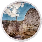 Lighthouse On The Cliff Round Beach Towel