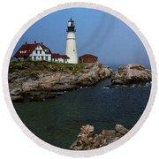 Lighthouse - Portland Head Maine Round Beach Towel