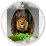 Lion Art Round Beach Towel