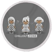 3 Little 3d Girls In Chilloutzone Round Beach Towel