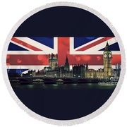 London Cityscape With Big Ben Round Beach Towel