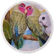 Flygende Lammet   Productions             3 Love Birds Perched Round Beach Towel