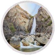 Lower Yosemite Fall In The Famous Yosemite Round Beach Towel