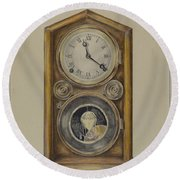 Mantel Clock Round Beach Towel