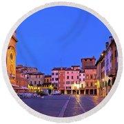 Mantova City Piazza Delle Erbe Evening View Panorama Round Beach Towel