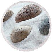 Meditation Stones On White Sand Round Beach Towel