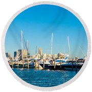 Miami Florida City Skyline Morning With Blue Sky Round Beach Towel