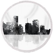 Miami Florida Skyline Round Beach Towel