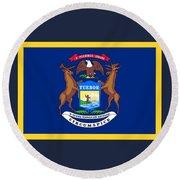 Michigan Flag Round Beach Towel