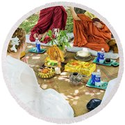 Monks Blessing Buddhist Wedding Ceremony In Cambodia Round Beach Towel
