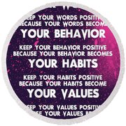 Motivational Quotes - Keep Your Words Positive - Ghandi Round Beach Towel