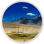 Mountains Of Leh Ladakh Jammu And Kashmir India Round Beach Towel