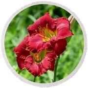 Red Lily Pair Round Beach Towel