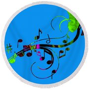 Music Flows Collection Round Beach Towel