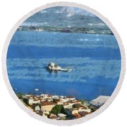 Nafplio Town And Bourtzi Fortress Round Beach Towel