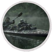 Navy Seals Navigate The Waters Round Beach Towel