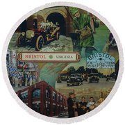 History Of Bristol Tn/va Round Beach Towel