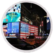 New York City Times Square Round Beach Towel