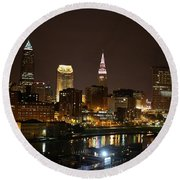 Nightlife In Cleveland Round Beach Towel