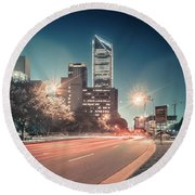 November, 2017, Charlotte, Nc, Usa - Early Morning In The City O Round Beach Towel