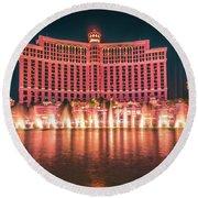 November 2017 Las Vegas Nevada - Scenes Around Bellagio Resort H Round Beach Towel