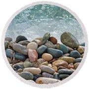 Ocean Stones Round Beach Towel by Stelios Kleanthous
