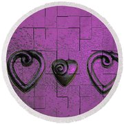 3 Of Hearts Round Beach Towel