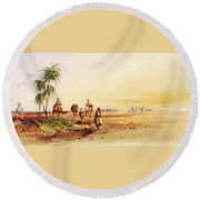 On The Road To Thebes Round Beach Towel
