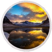 Original Landscape Paintings Round Beach Towel