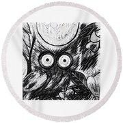 Owl Midnight Round Beach Towel