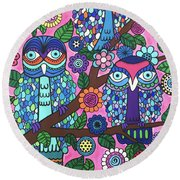 3 Owls Round Beach Towel