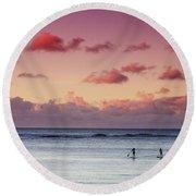 Paddlers At Sunset Round Beach Towel