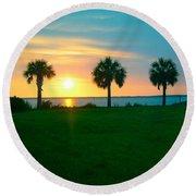 3 Palms Round Beach Towel